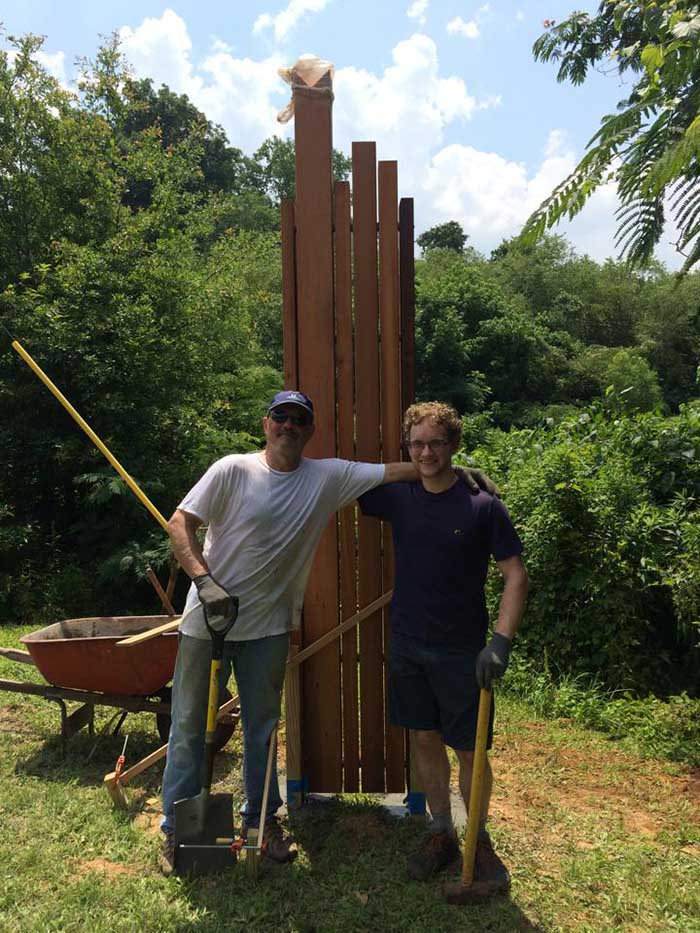 Michael Montgomery and James Lismore installed this goliath of a sign last week