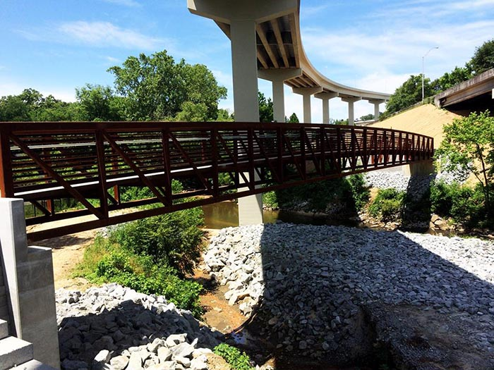 The completed bridge across the North Fork of Peachtree Creek
