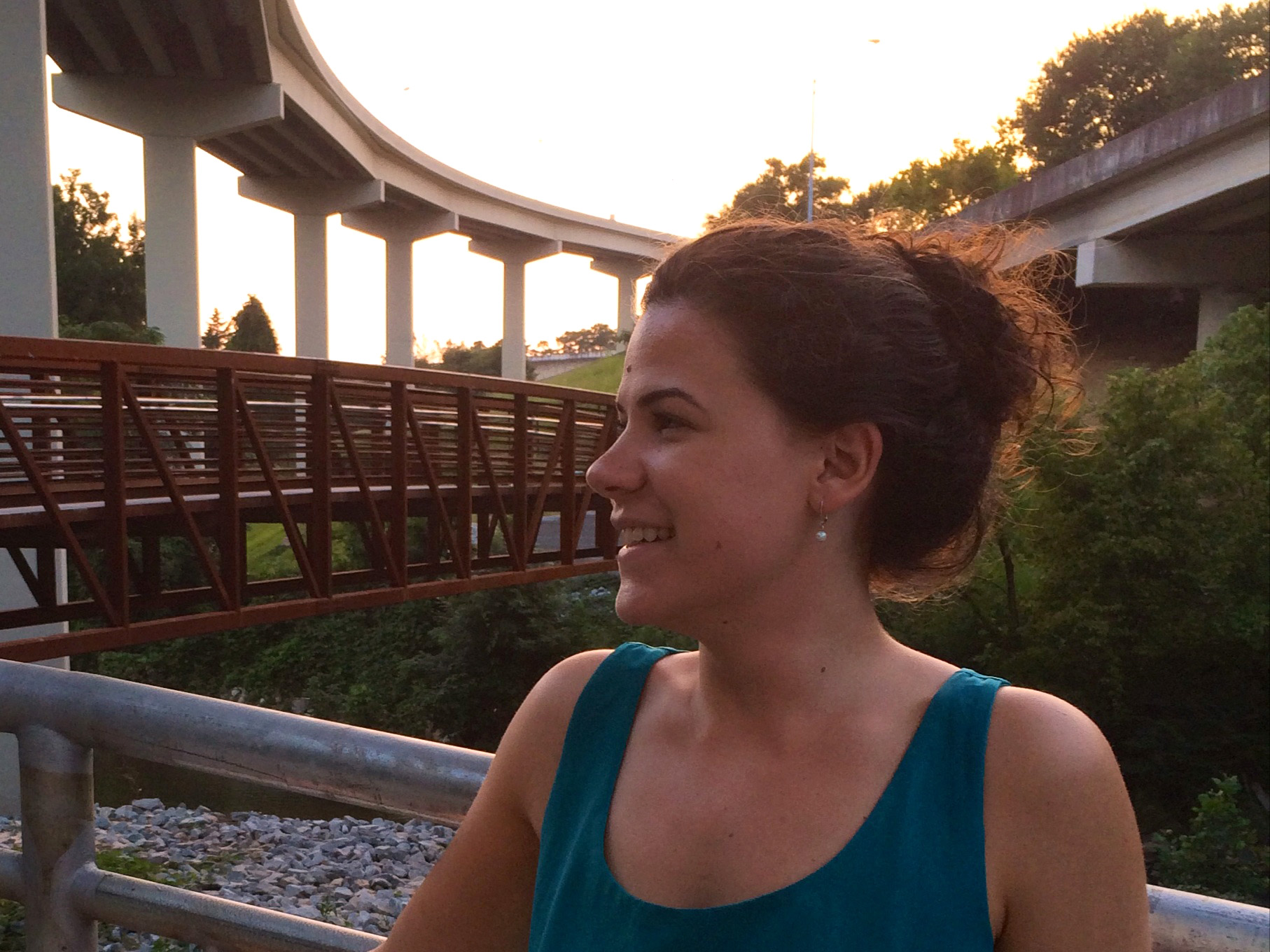 Sonia Martinez on a dusk-lit Cheshire Farm Trail