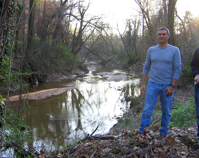 Bill LaDuca explores the site of the future Cheshire Farm Trail in 2011