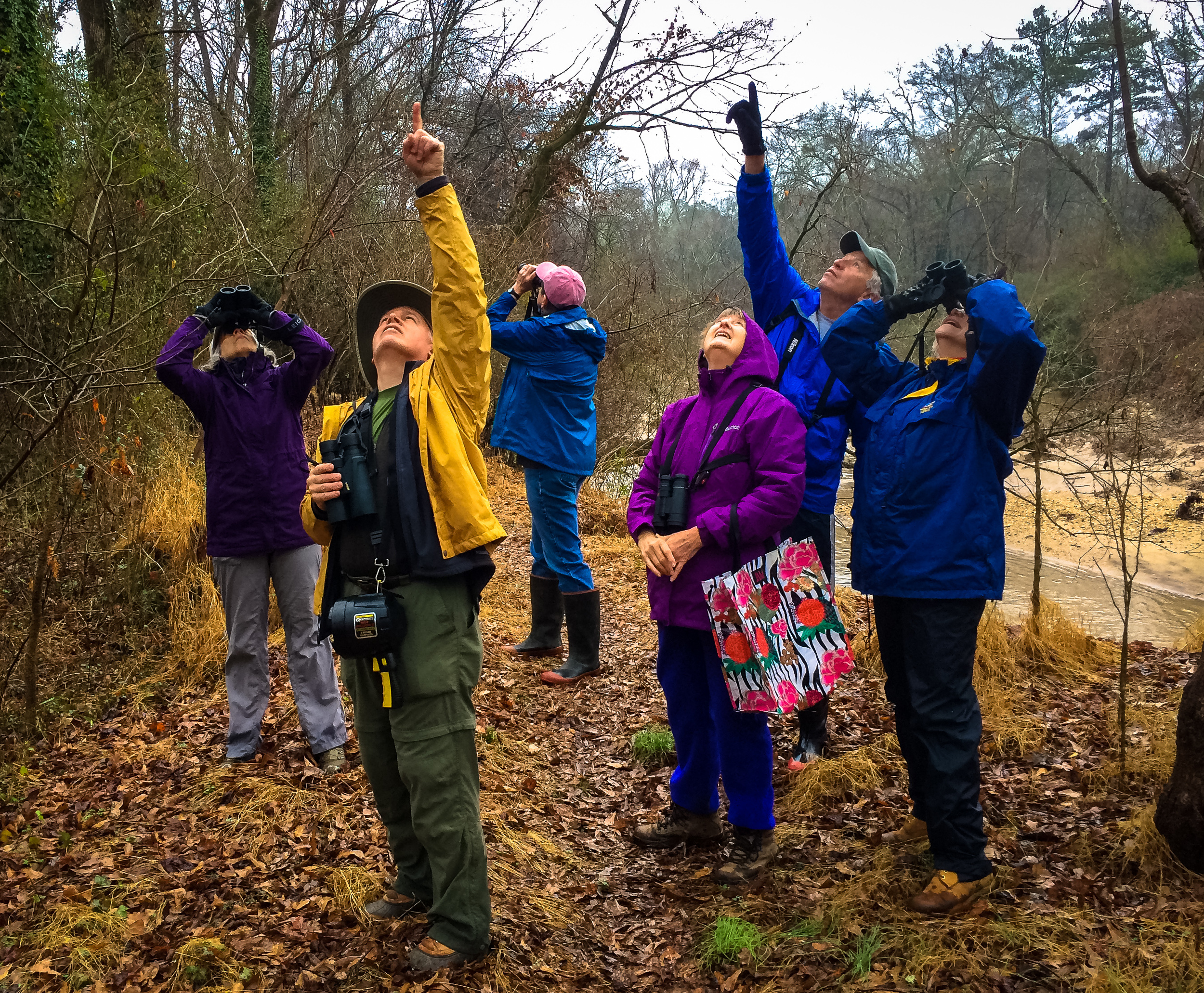Spotting something special on the South Fork. From Left to Right: Ellen Miller, Eric Bowles, Teresa Mayes, Stella Wissner, John Mayes, Sally Sears
