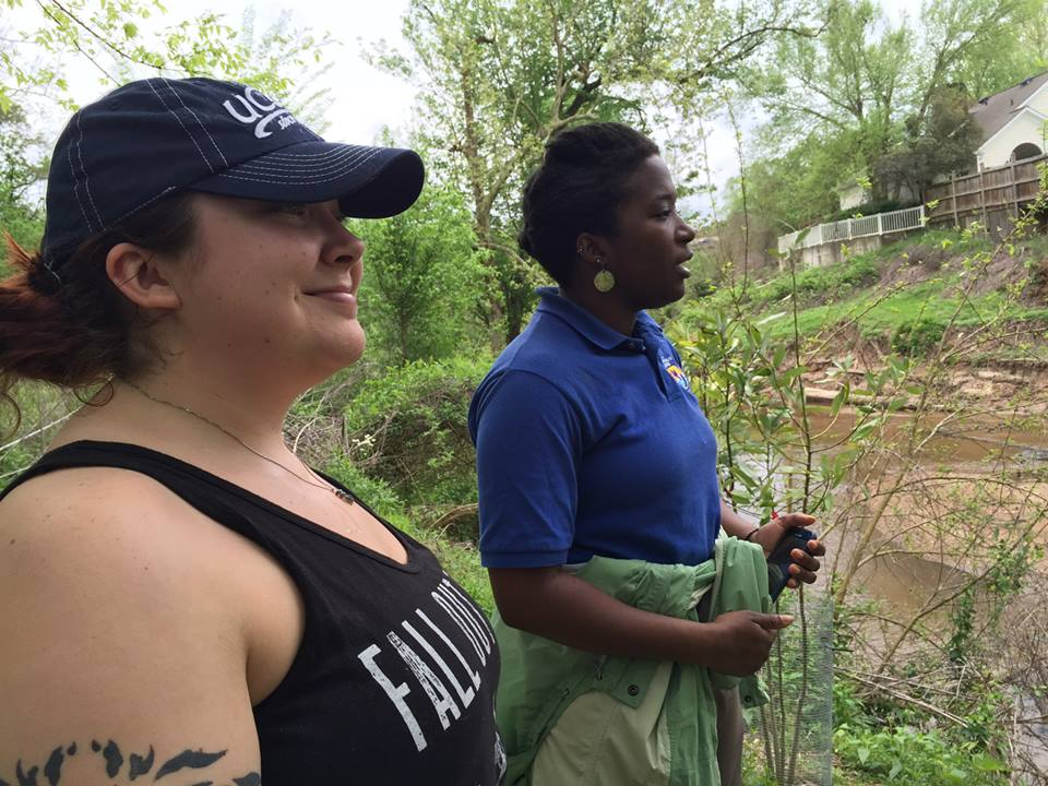 US Fish & Wildlife's Tamara Johnson, right, and students from metro Atlanta colleges explore best sites to survey native crawfish populations in the South Fork.