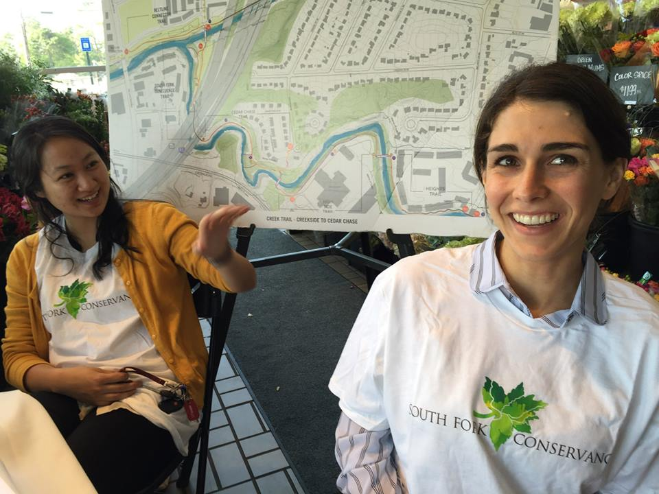 What a Whole Foods Fine Time! South Fork's Diane Ryu, left, and board member Ruthie Taylor Norton greeted hundreds of Whole Foods shoppers with news of the new trails close to the community.