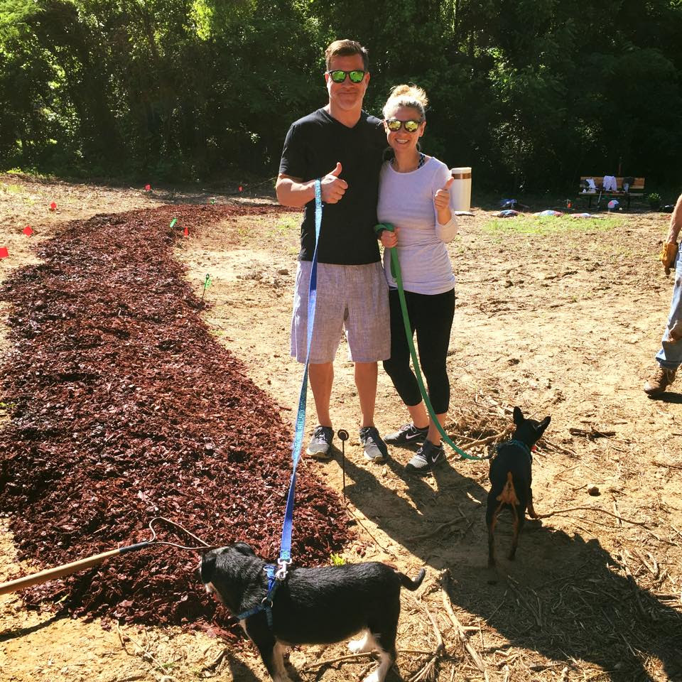 Paul & Tiffany gave thumbs ups to the Saturday trail mulching with Tucker and Oscar on their leashes. Glad to get another Lindridge neighbor approval.