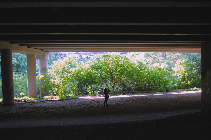 The Confluence Trail goes underneath I-85, Ga. 400 and the Buford Highway Connector, giving an amazing view of urban infrastructure.