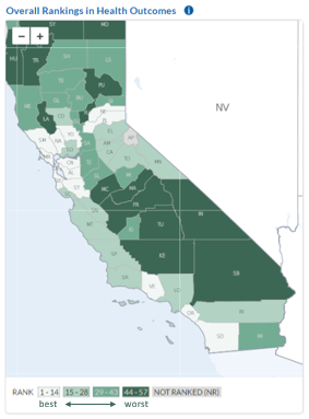 California Map of County Health Rankings