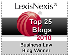 LexisNexis Top 25 Blogs 2010 Business Law Blog Winner