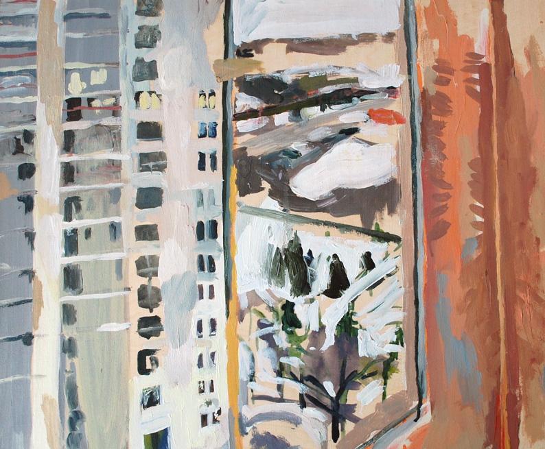 "Window, Plaza by the Riverside, Acrylic on birch panel, 20"" x 24"", 2012, (series of 15)"