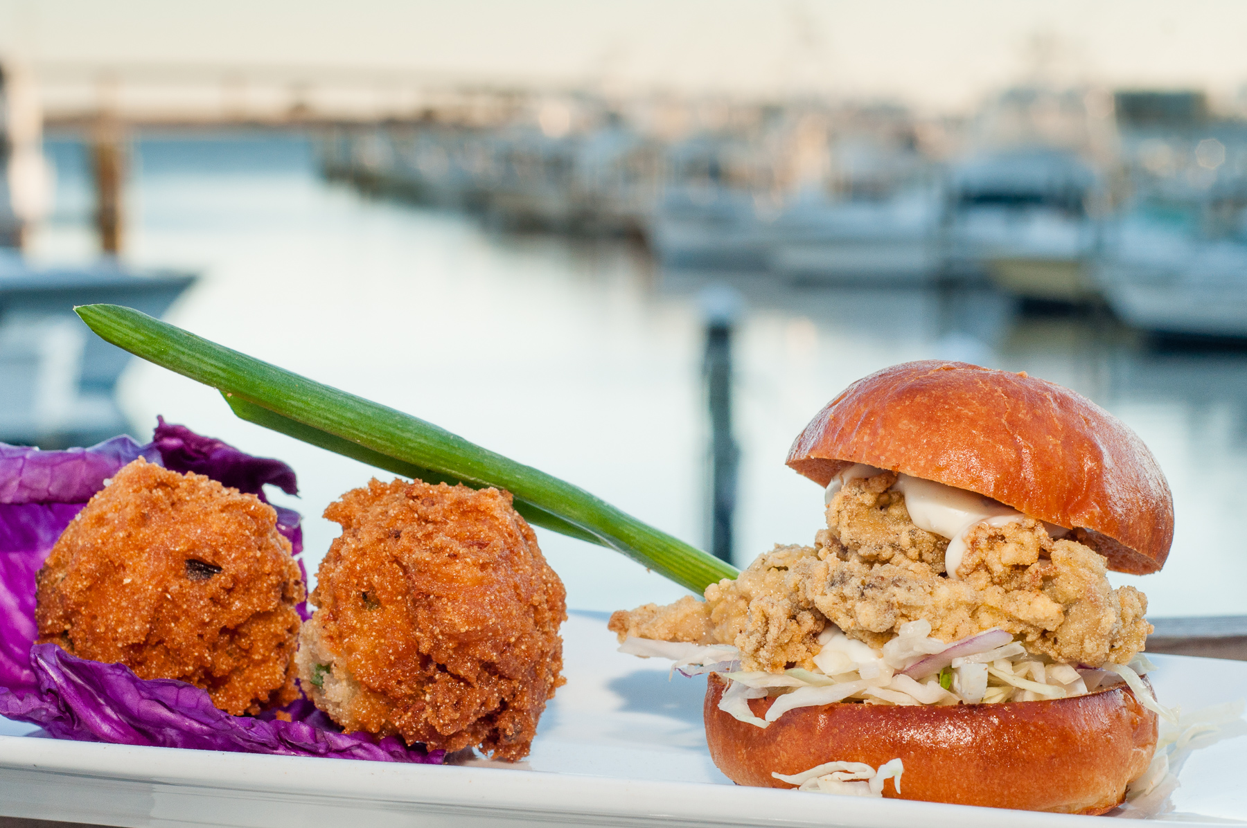 Oyster Sliders with Jicama Slaw and Hushpuppies