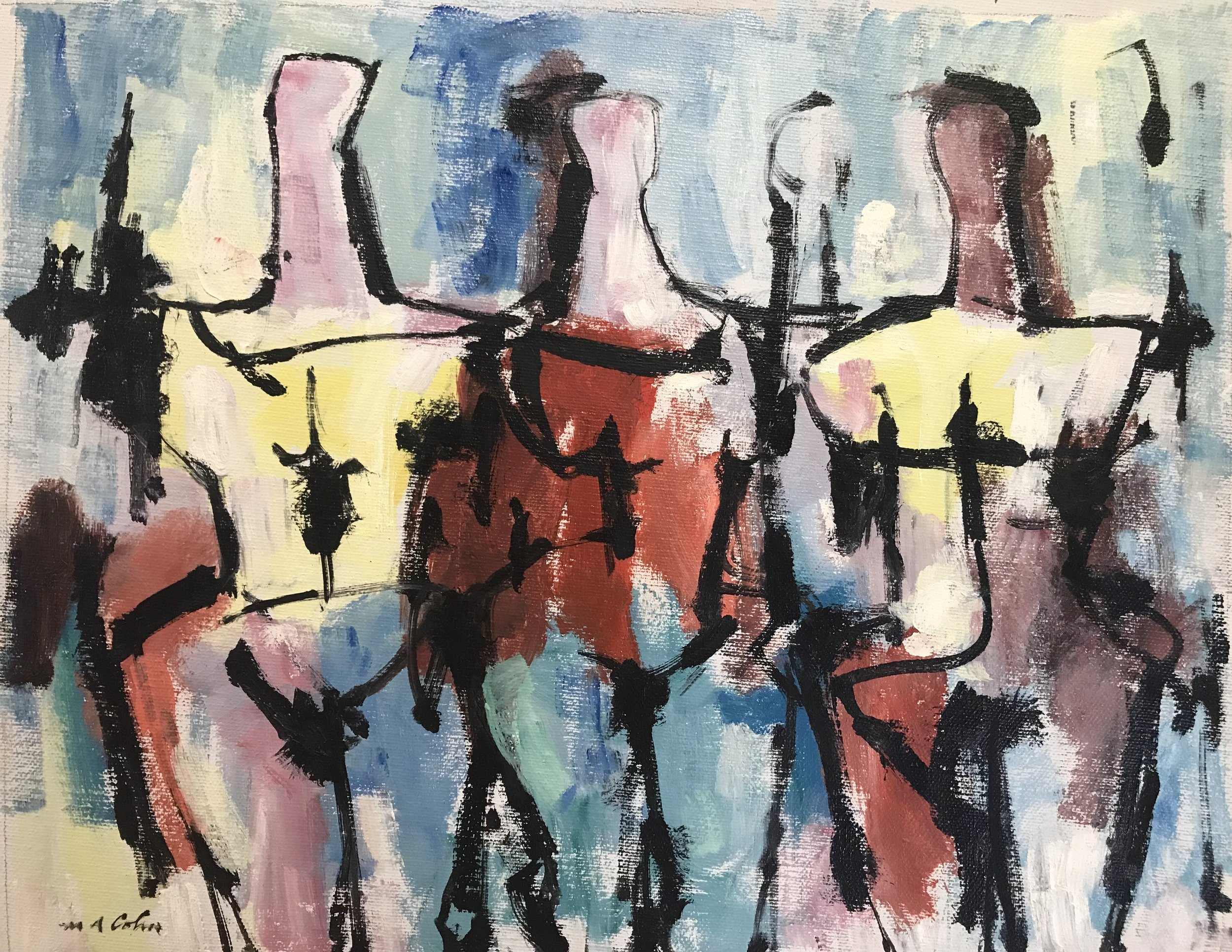 "Abstract Figures 480A-1973 by Max Arthur Cohn Oil on Canvas 1973 11"" x 14"""