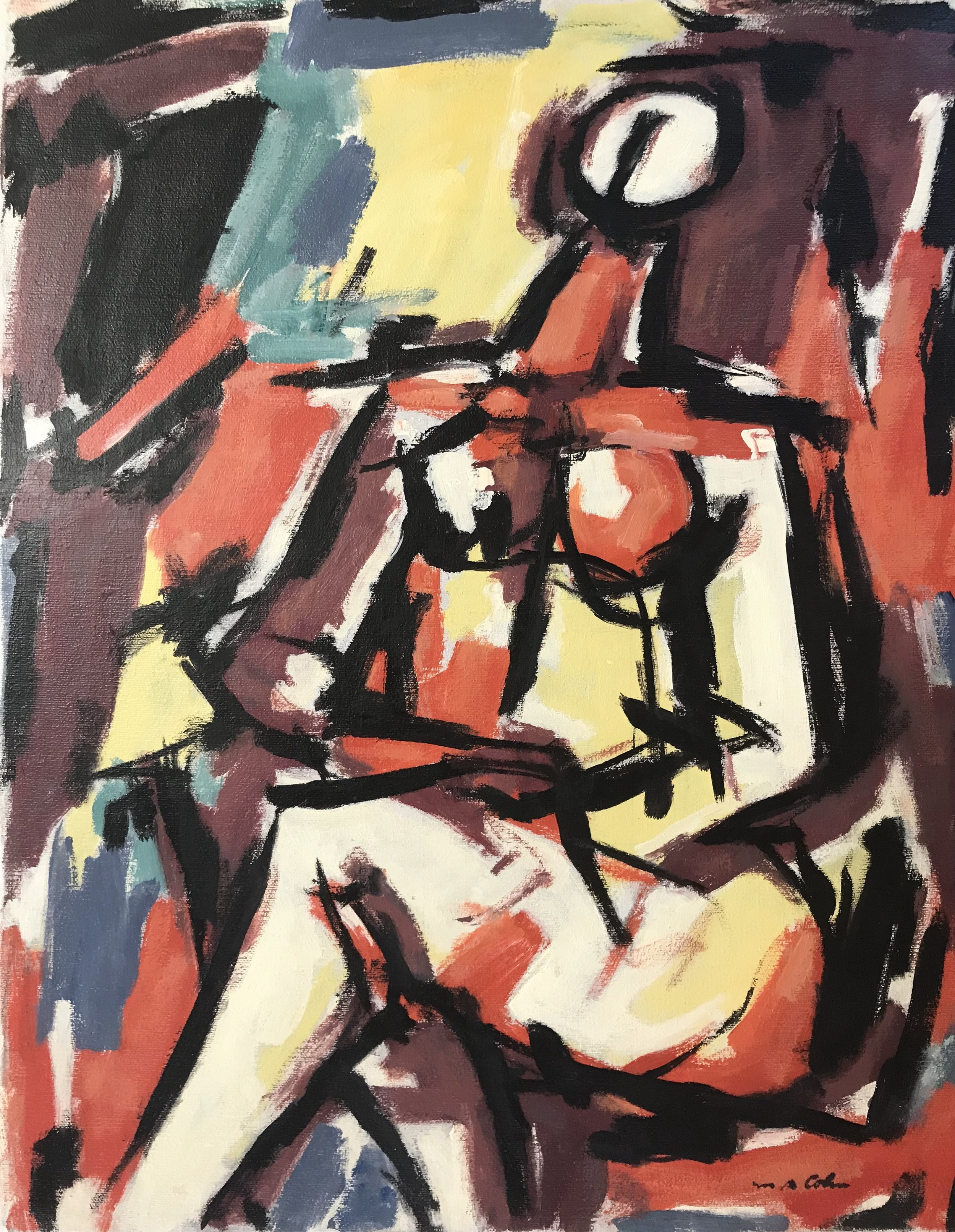 "Seated Figure 607-1975 by Max Arthur Cohn Oil on Canvas 16"" x 20"" 1975"
