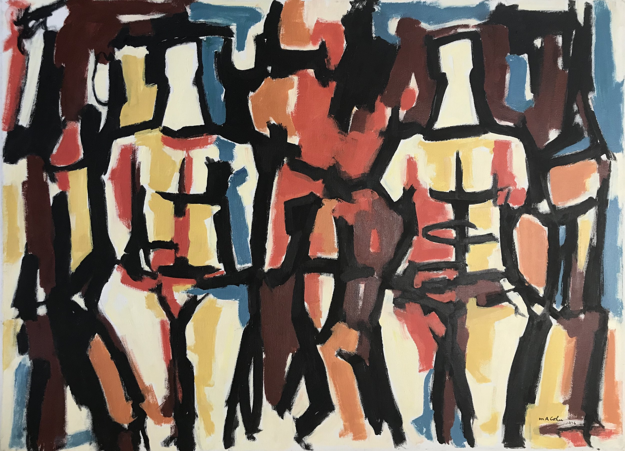 "Two Abstract Figures 636-1976 by Max Arthur Cohn 28"" x 38"""" Oil on Canvas 1976"