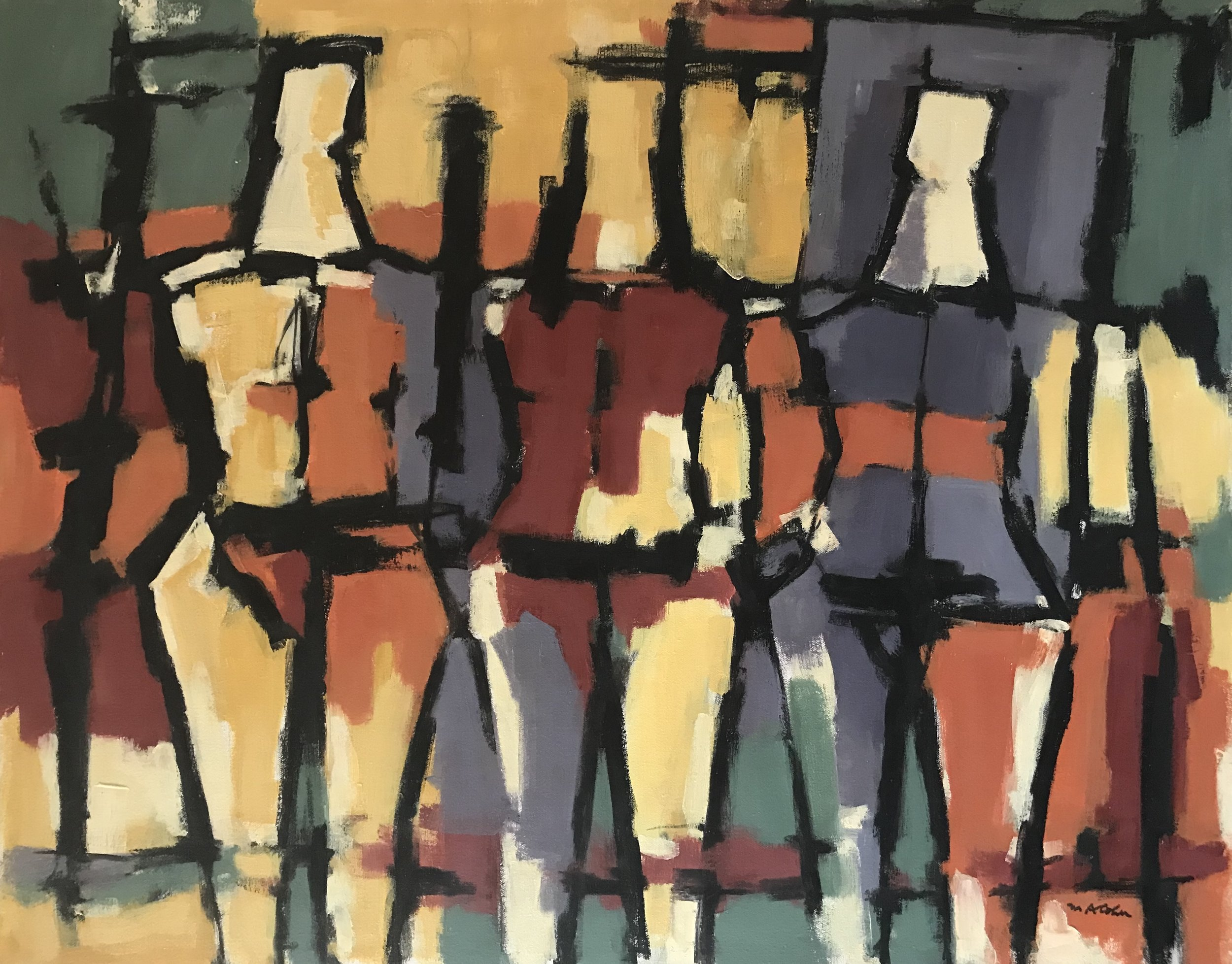 "Abstract Figures 688-1977 by Max Arthur Cohn 24"" x 30"" Oil on Canvas 1977"