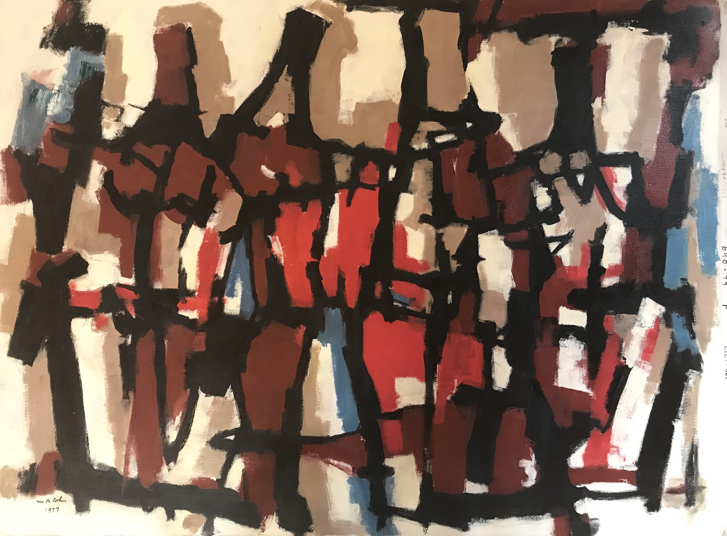 "Abstract Figures 690-1977 by Max Arthur Cohn 30"" x 40"" Oil on Canvas 1977"