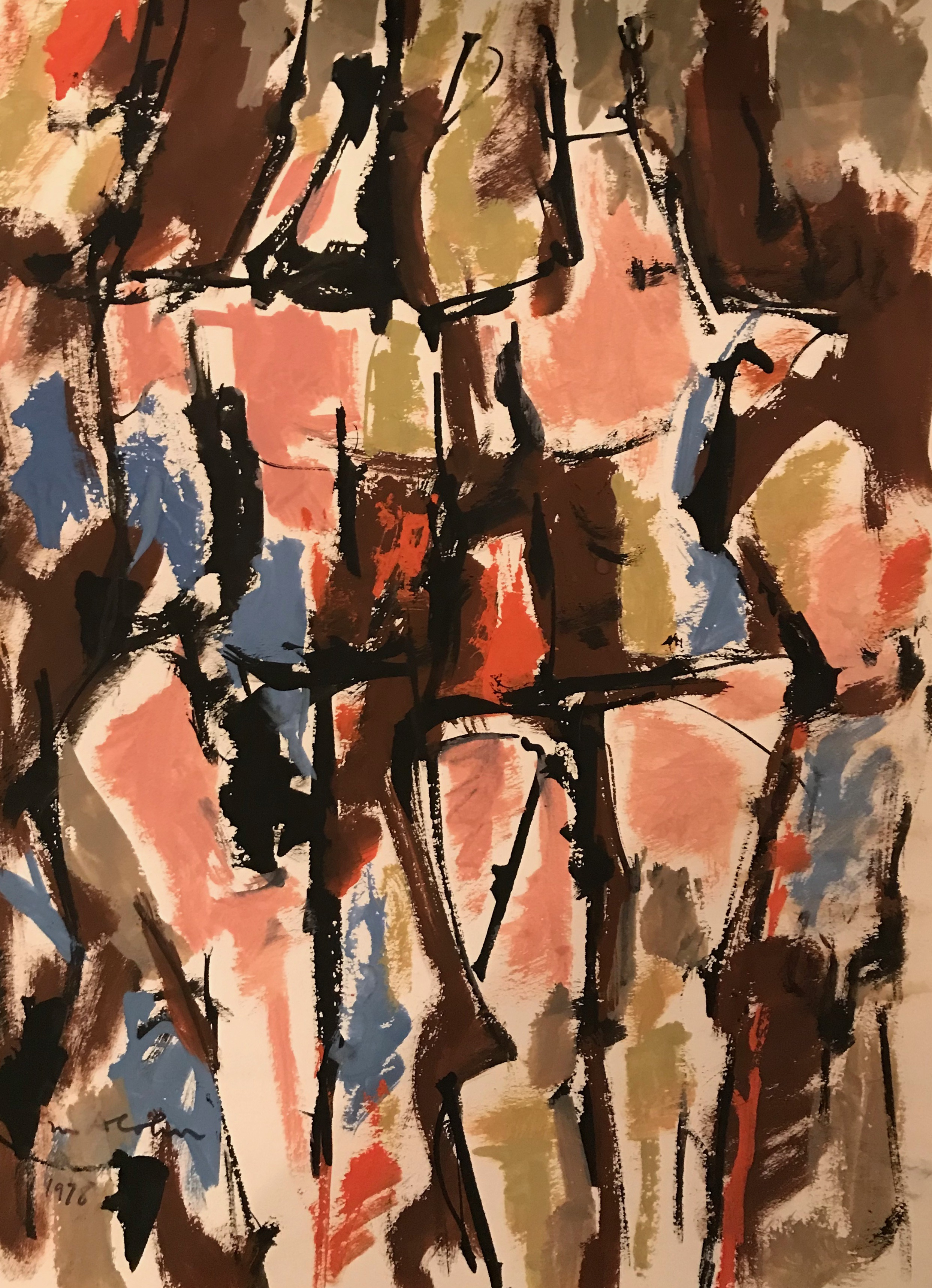 "Abstract Figure 1978-G14 by Max Arthur Cohn 9"" x 11.5"" Gouache on Paper 1978"