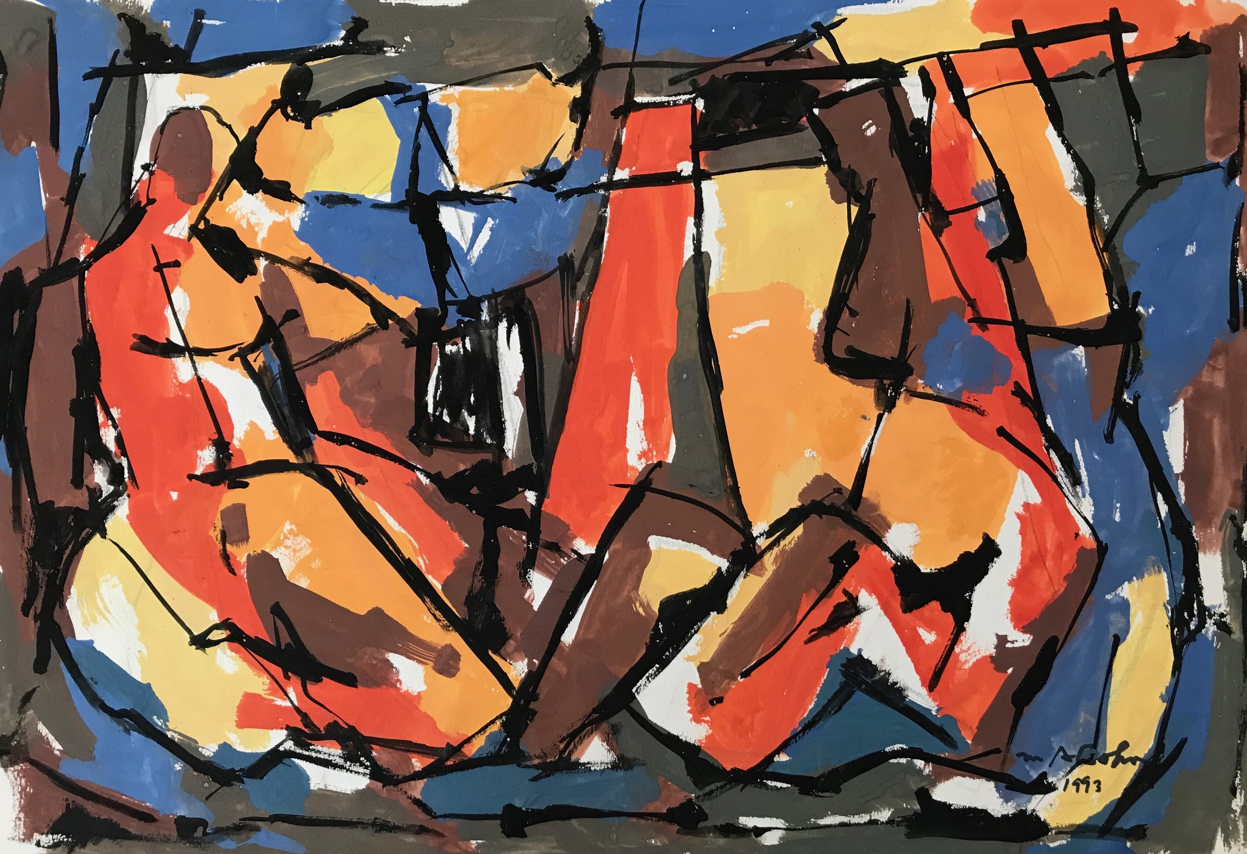 "Abstract Figures 1993-G10 by Max Arthur Cohn 1993 Gouache on Paper 15"" x 21"""