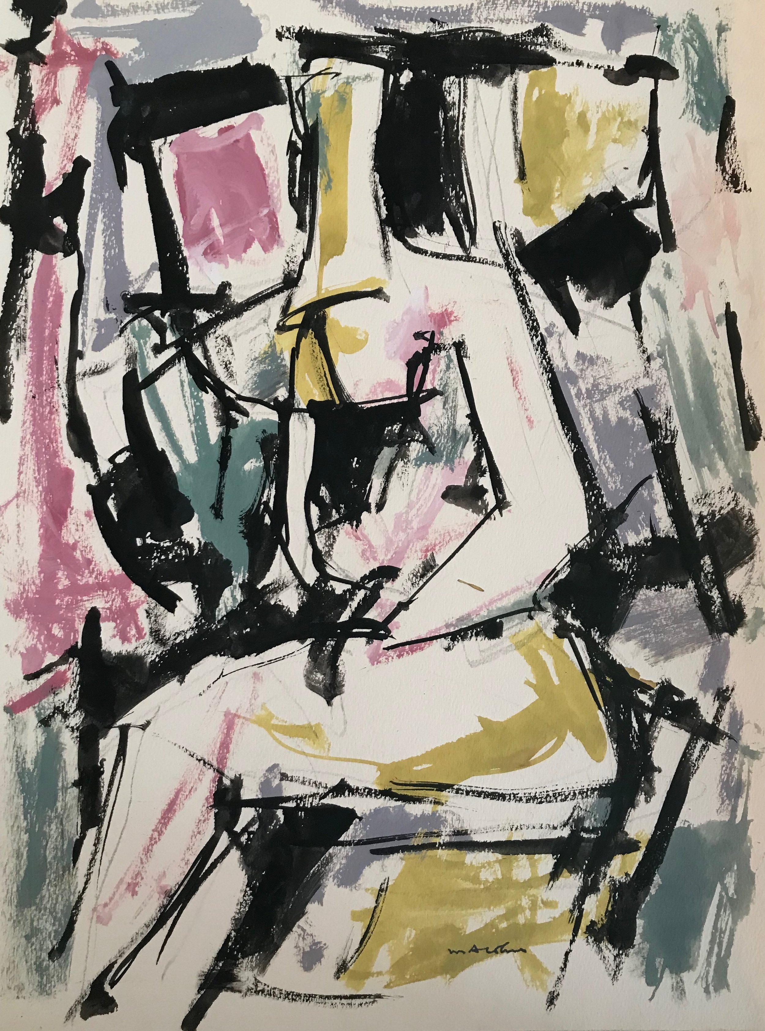 "Seated Woman 1972-G19 by Max Arthur Cohn 1972 Gouache on Paper 10"" x 13"""