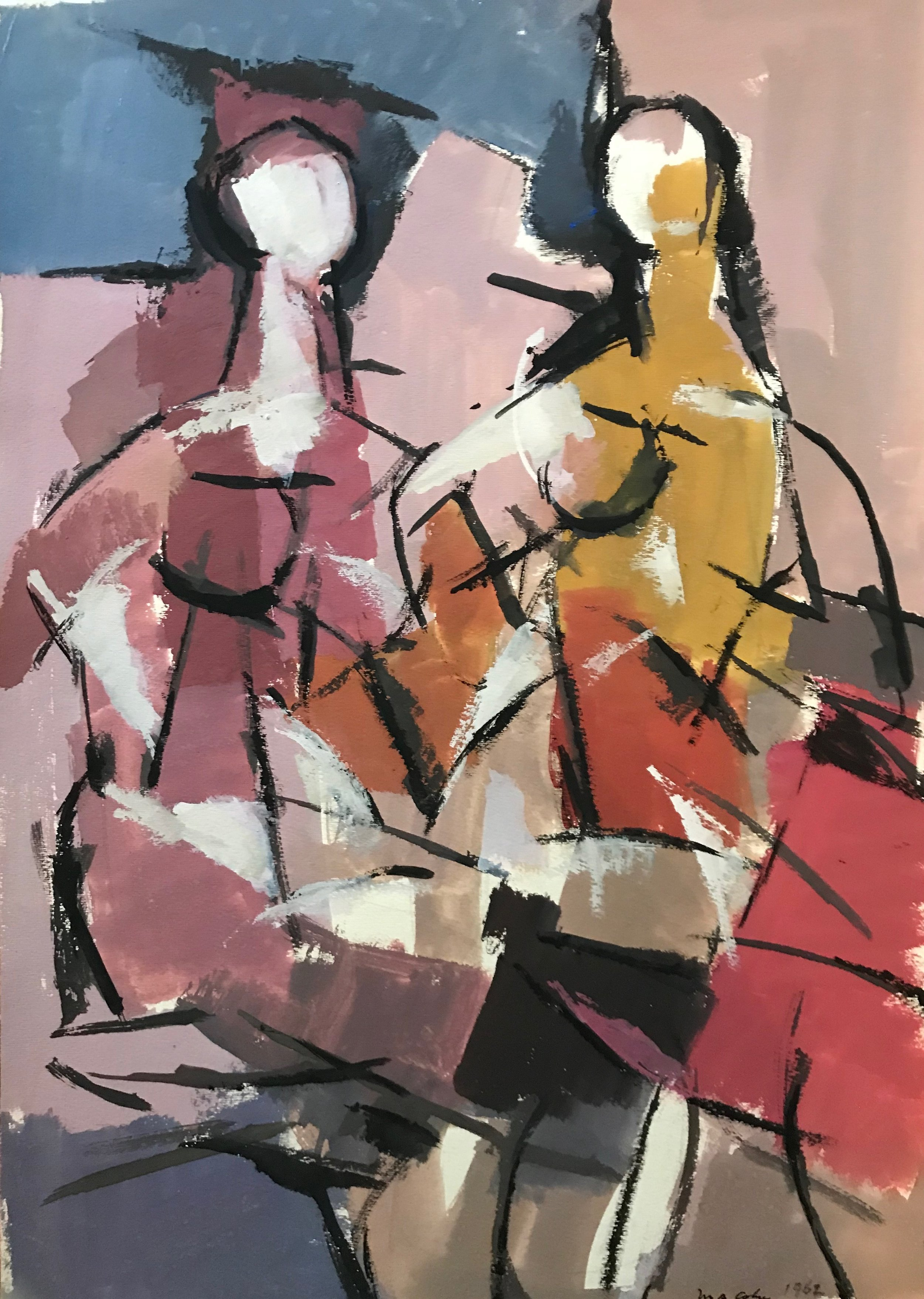 "Two Seated Figures 1962-G23 by Max Arthur Cohn 1962 Gouache on Paper 13"" x 18"""