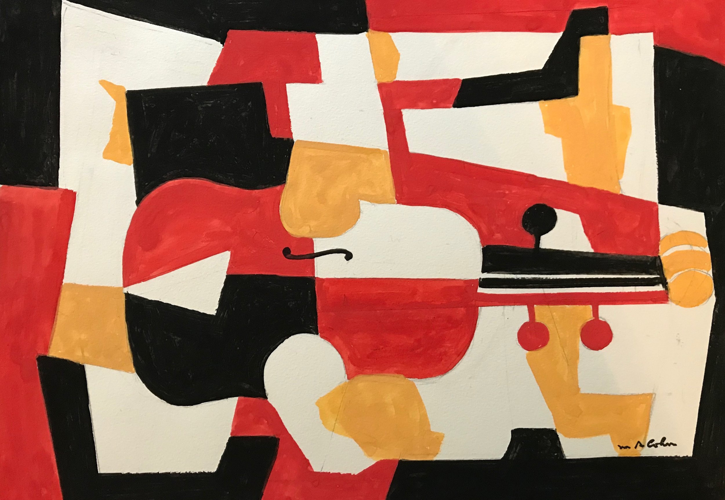 "Abstract Violin nd-G1 by Max Arthur Cohn not dated Gouache on Paper 14"" x 19"""