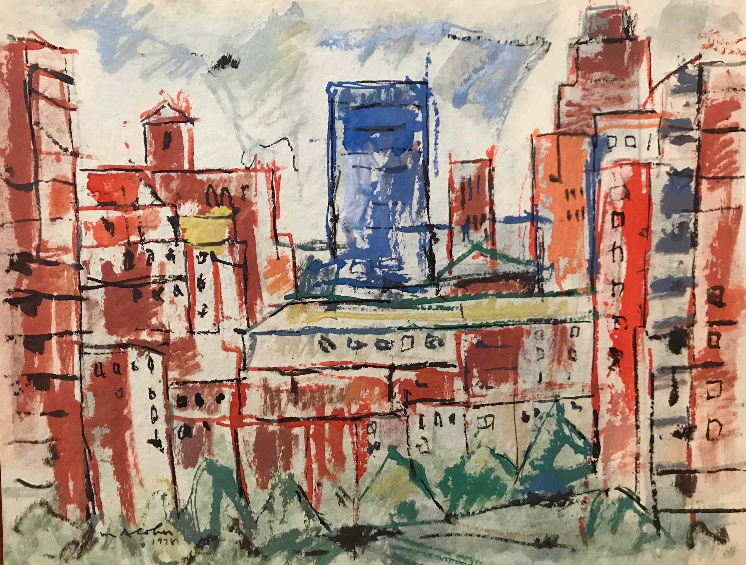 "McGraw Hill Building 1978-G3 by Max Arthur Cohn 1978 Gouache on Paper 11"" x 15"""