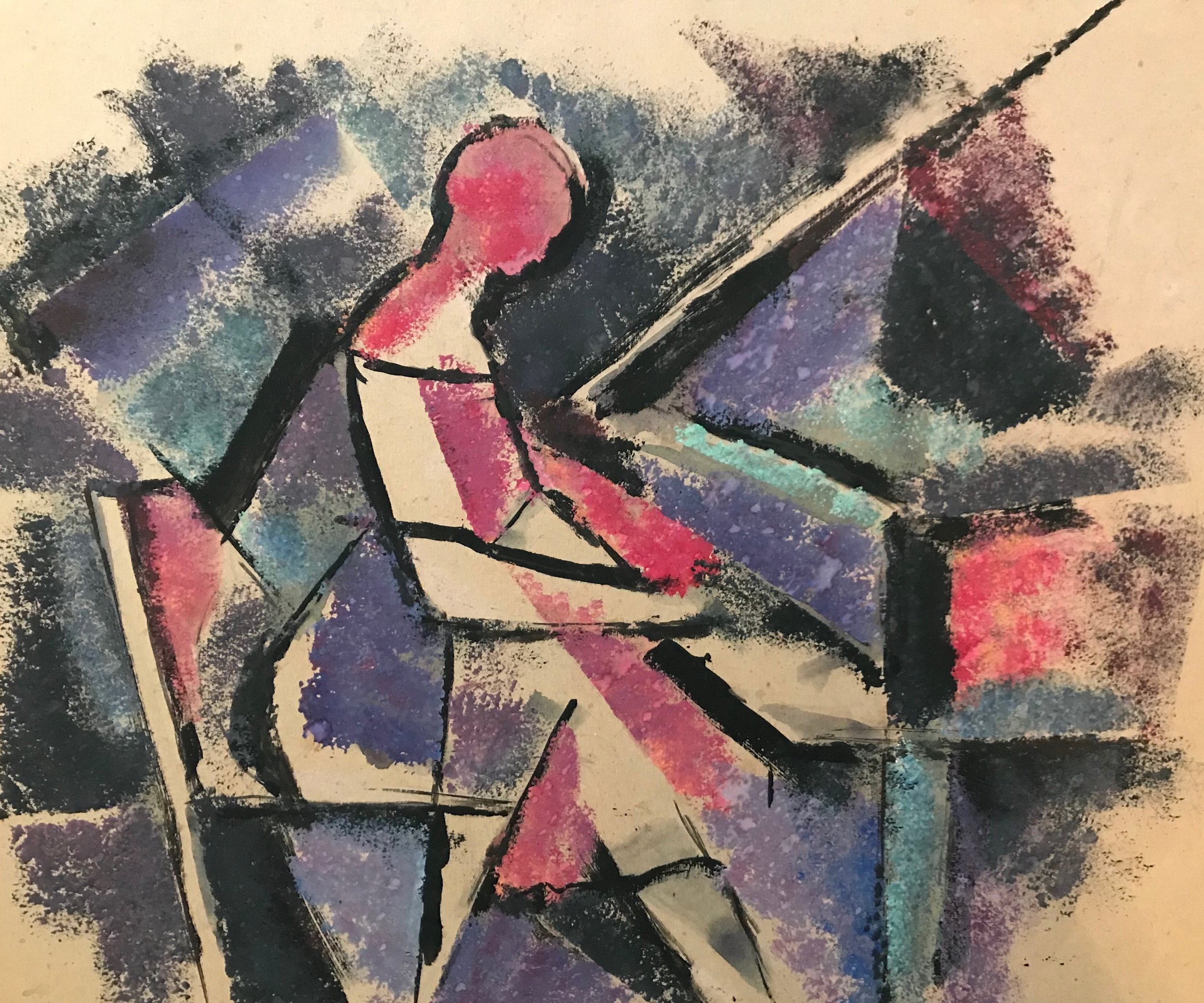 "Woman Playing Piano 1956-G22 by Max Arthur Cohn 1956 Gouache on Paper 11.25"" x 13.5"""