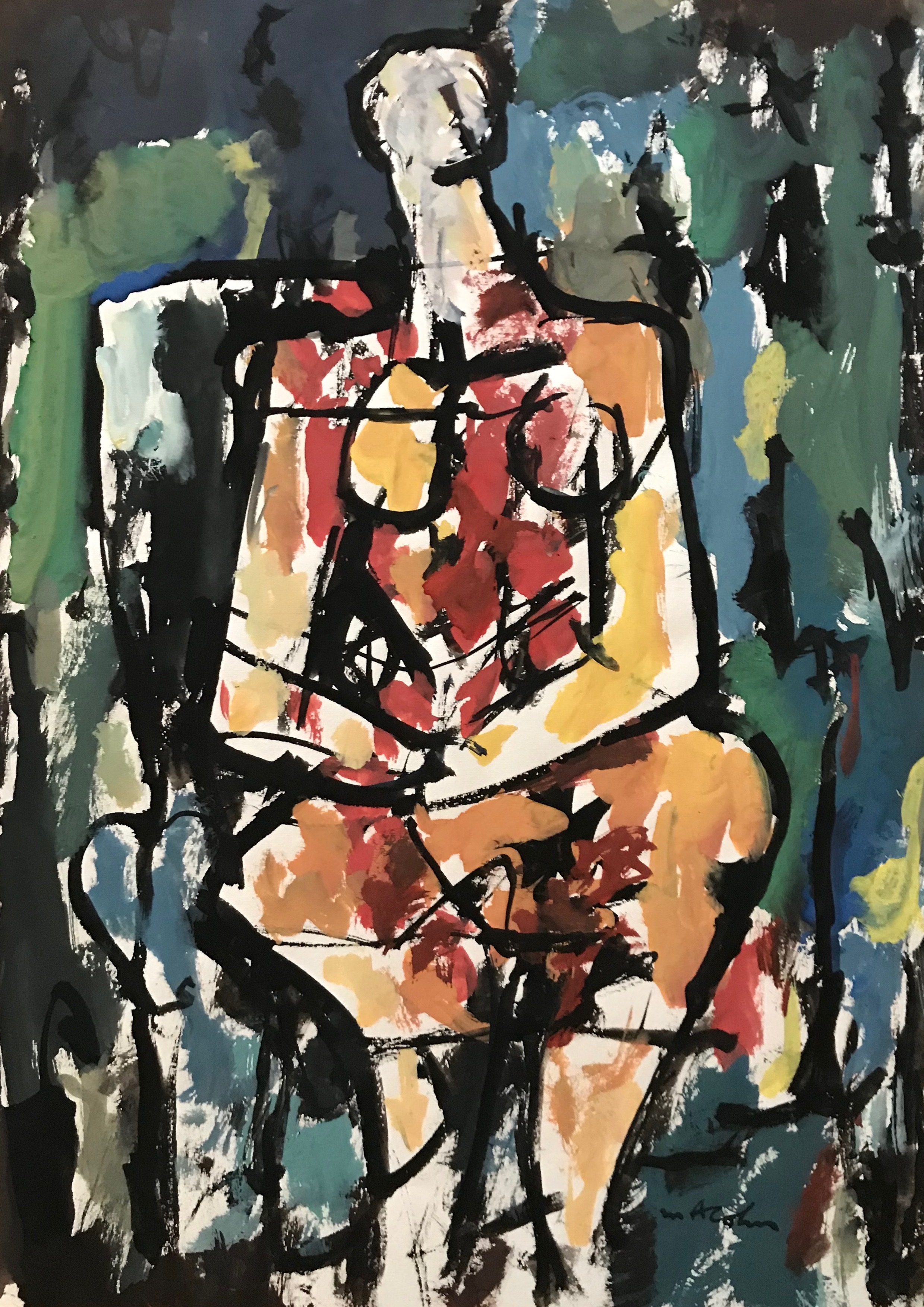 "Seated Figure 1973-G64 by Max Arthur Cohn 1964 Gouache on Paper 8.5"" x 11.5"""