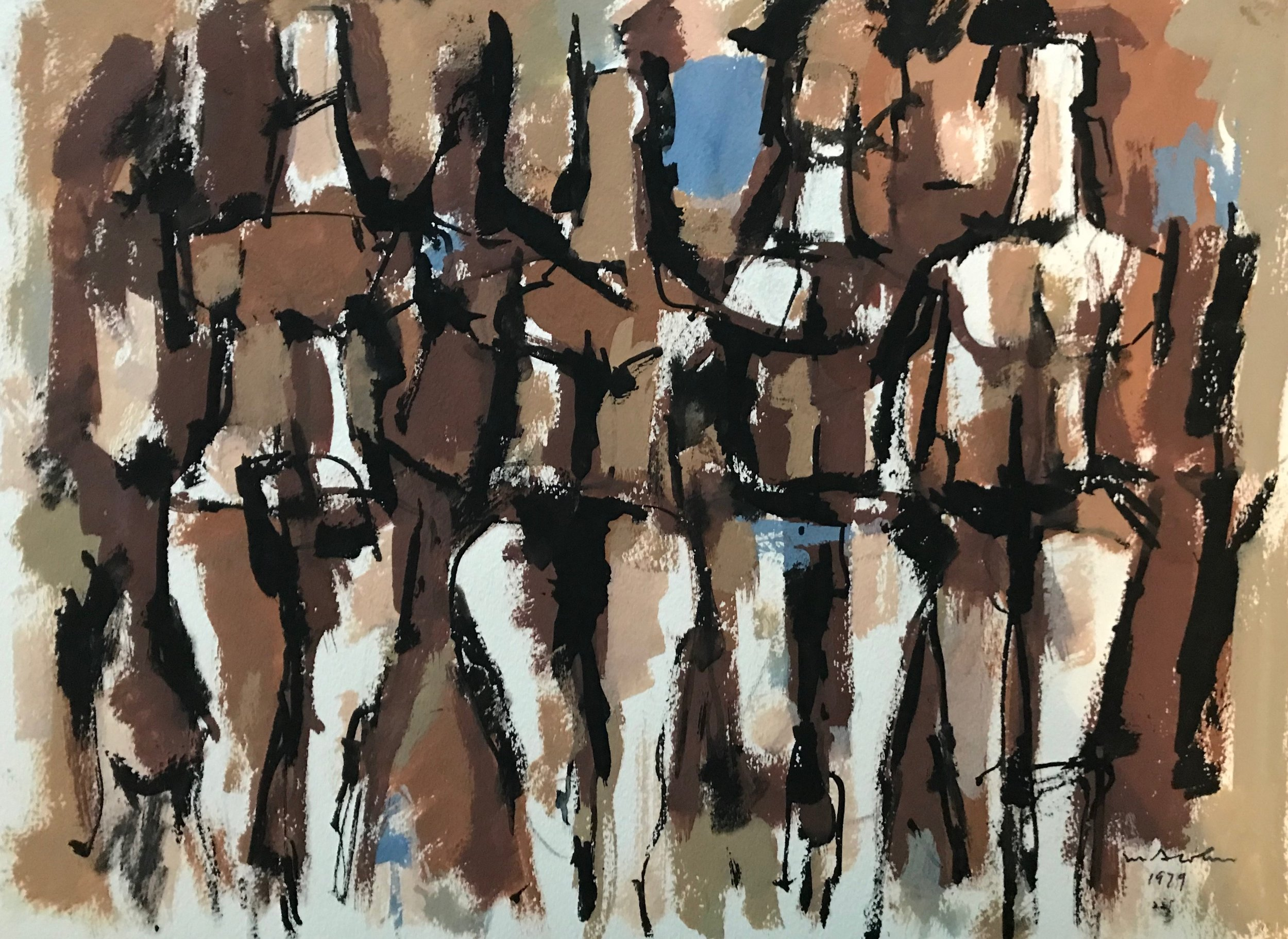 "Standing Figures 1979-G3 by Max Arthur Cohn 1979 Gouache on Paper 12"" x 14"""