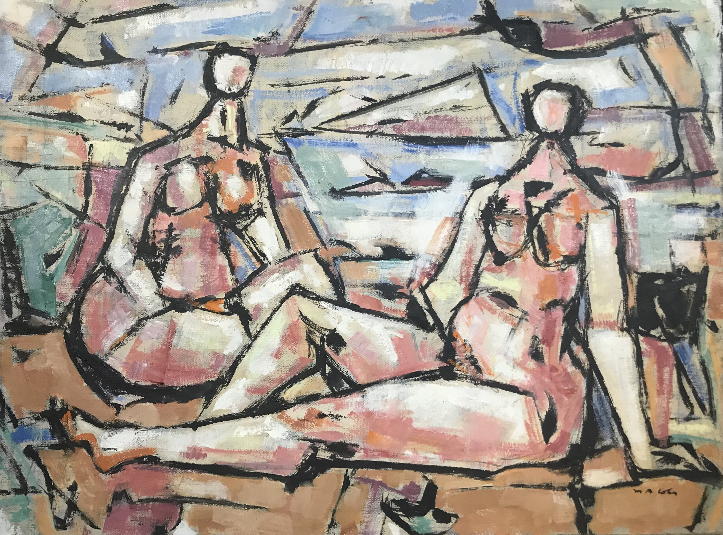 Two Bathers by Max Arthur Cohn oil on canvas stretched 1969