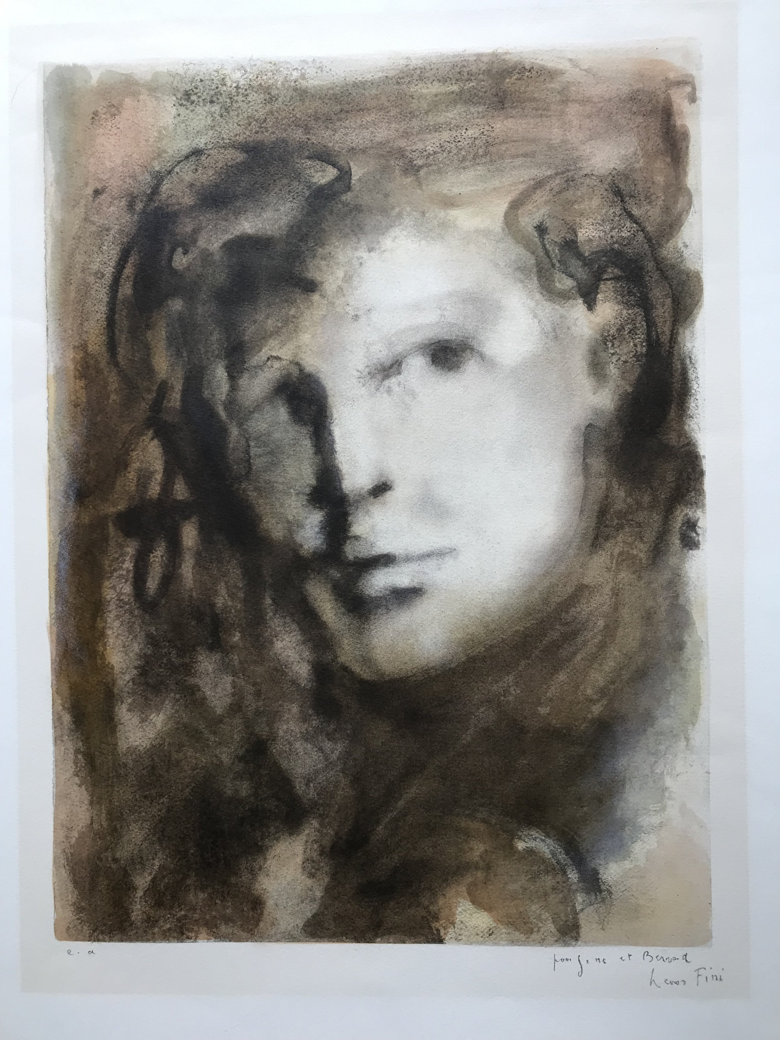 "Visage by Leonor Fini Lithograph on paper 15"" x 20"""