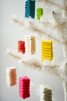 Ribbon candy felt ornaments