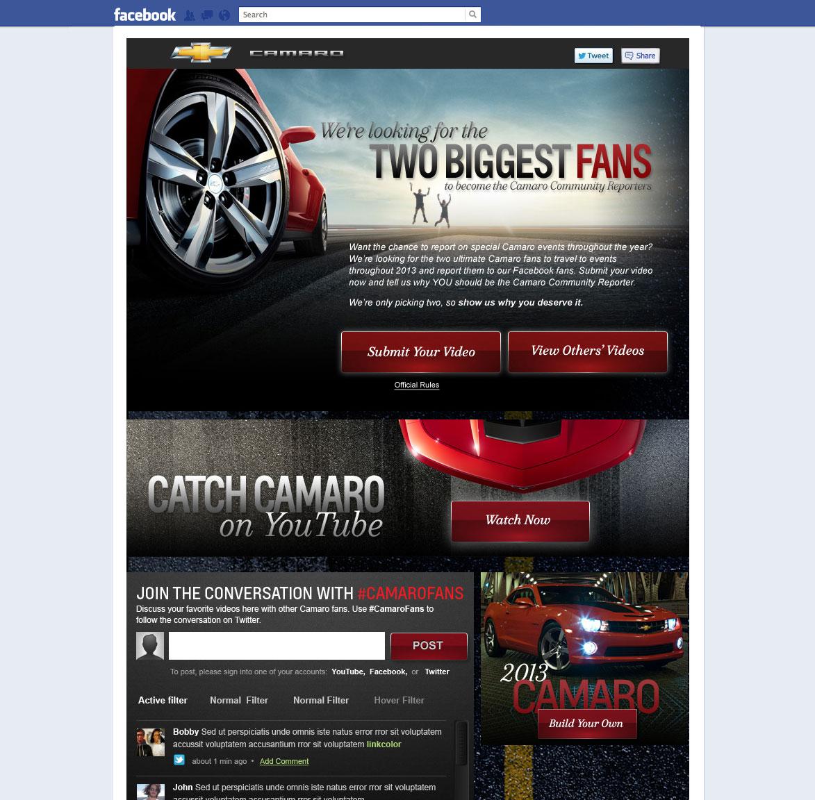 Chevy Camaro Facebook Tab