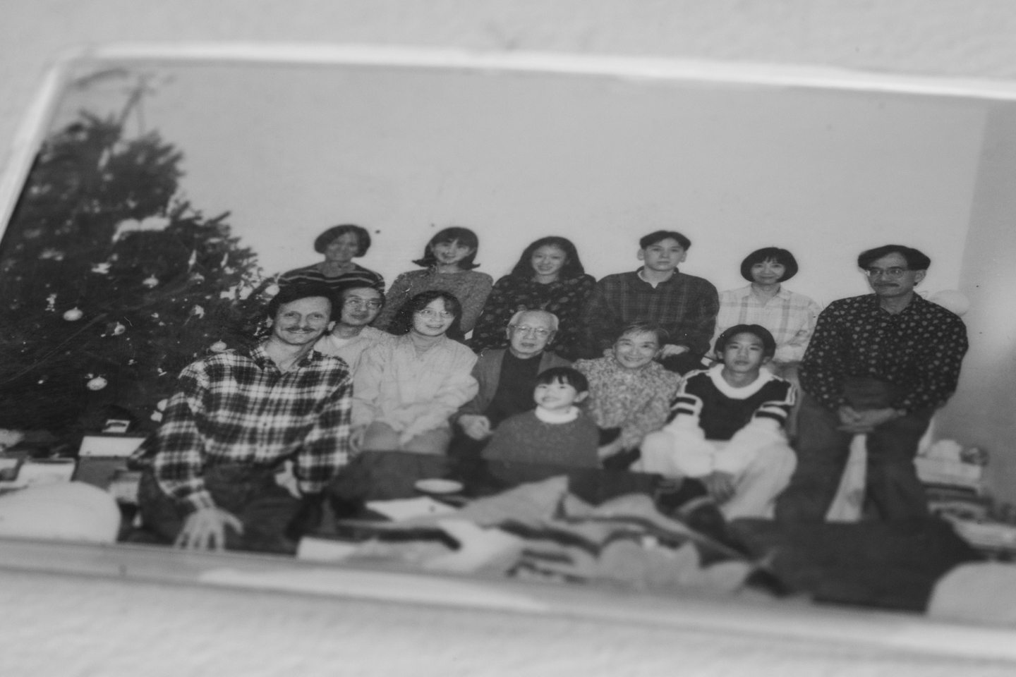 A family photo that popo laminated and carried around in her wallet since Christmas of 1995 in Halifax, Canada.