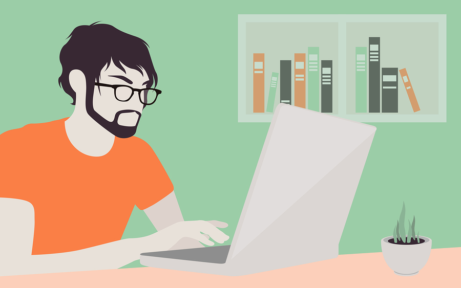 Illustration of man with laptop