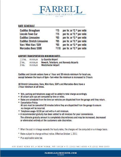 Rate Schedule