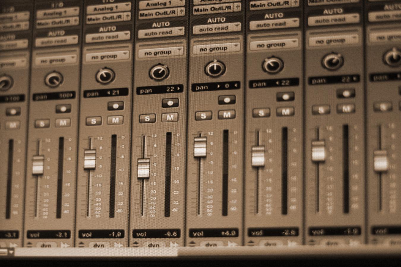 Close up of a ProTools screen.
