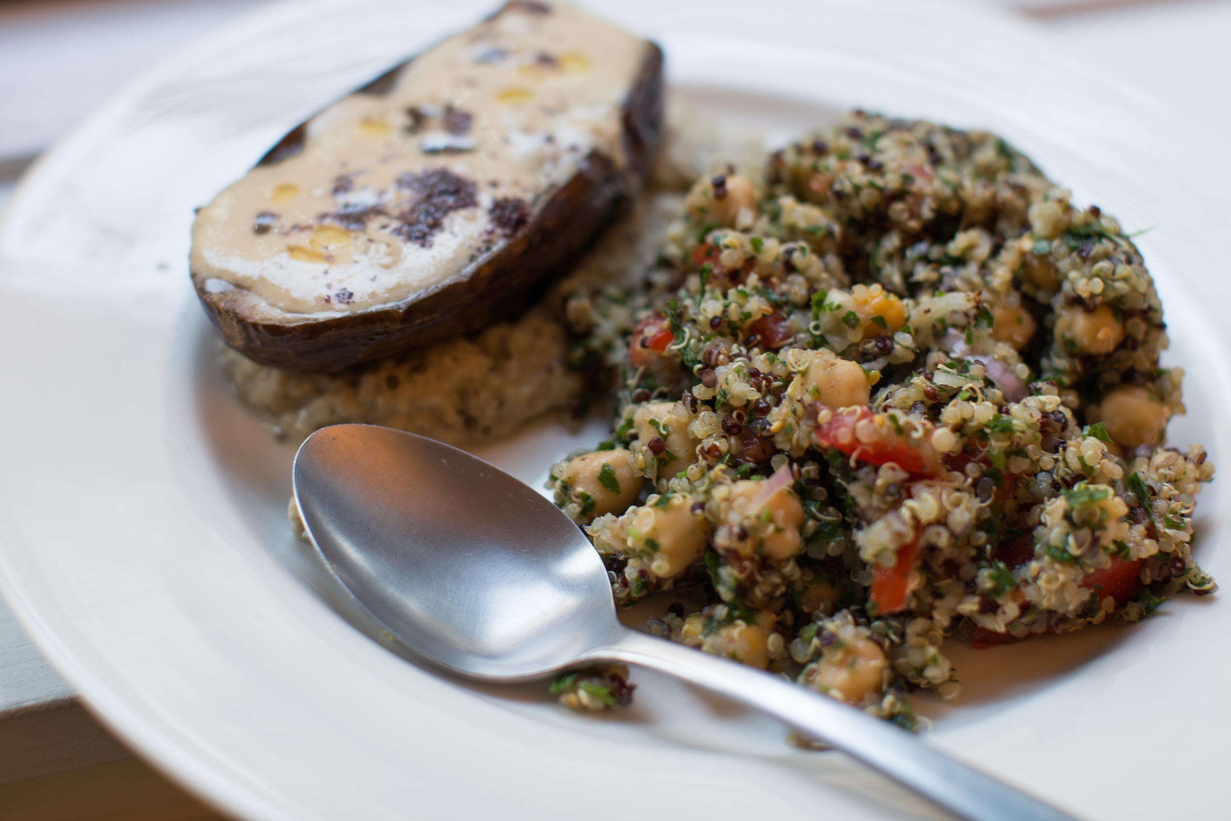 (fancy! eggplant served on top of homemade baba ghanoush)