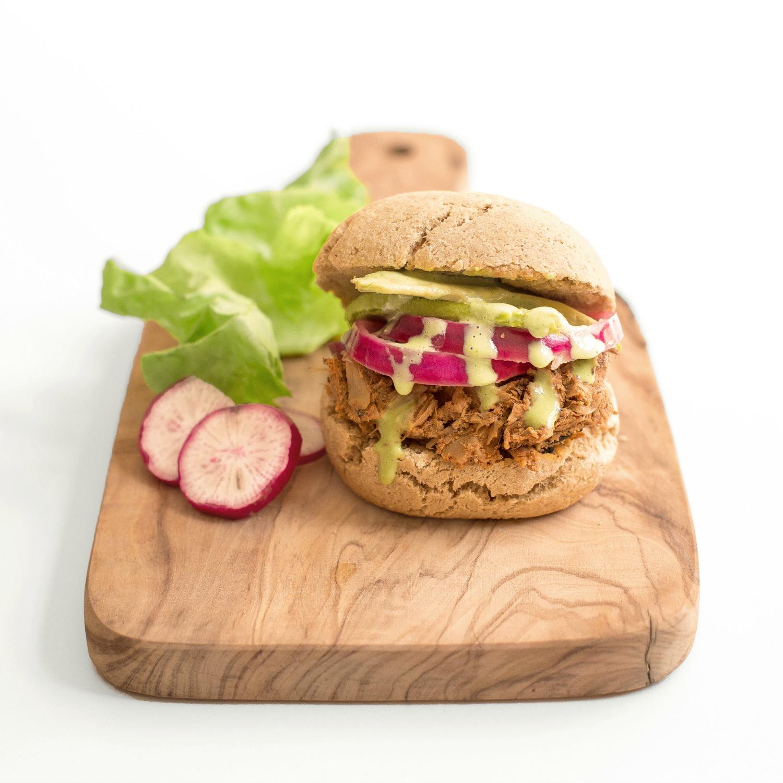 Vegan Chicken Jackfruit Sandwich with Bolivian Quinoa Bread & Peruvian Aji Verde.jpg