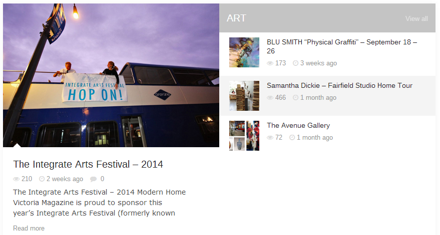 Modern Home Victoria Magazine - Arts Section featuring Integrate Arts Festival - online screen shot