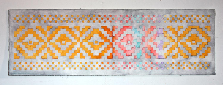 "Rainbow Snake     Watercolor  9"" x 26""     2009"