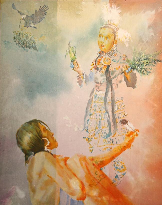"La Virgin de Guadelupe           Acrylic     46"" x 68""     2016"