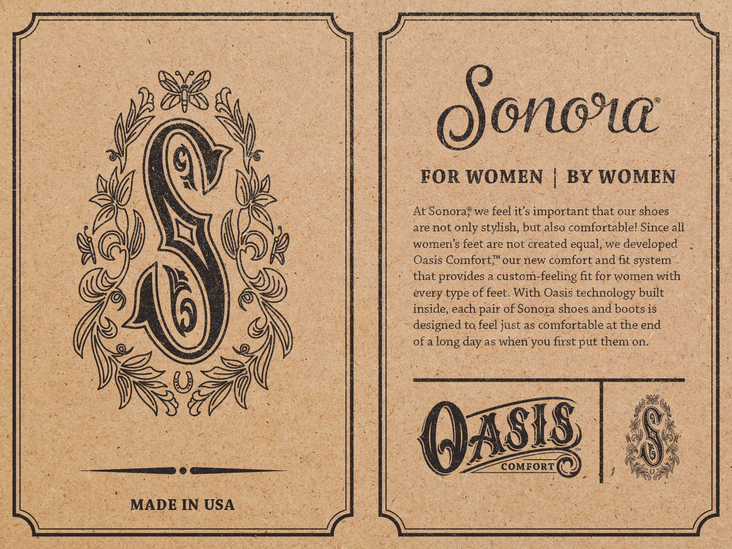The front and back of the boot hang tag explaining the comfort cushioning system of  Oasis