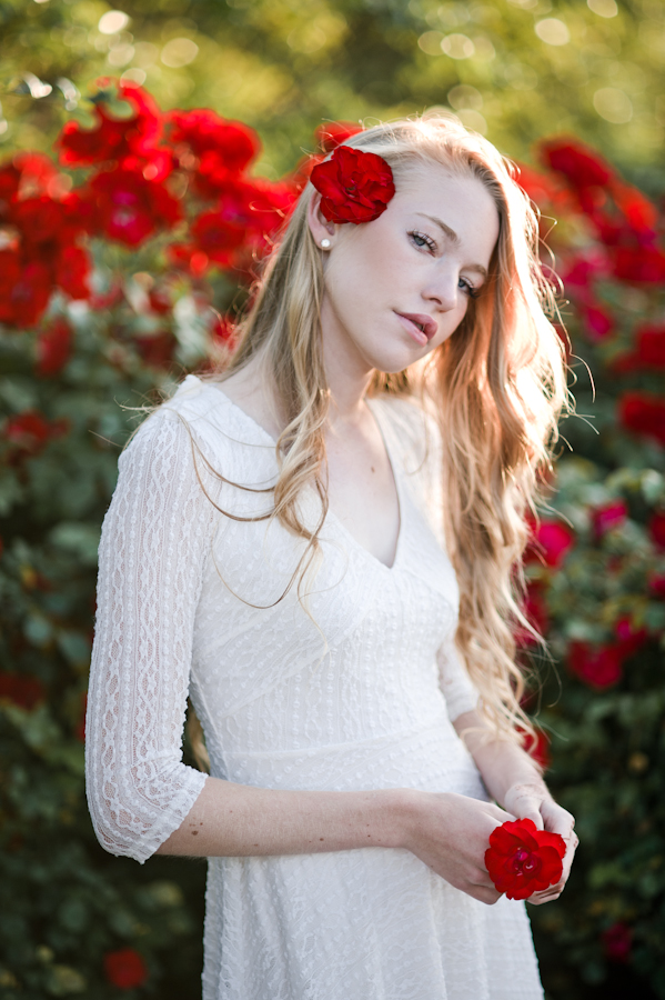 white dress red rose fashion photography