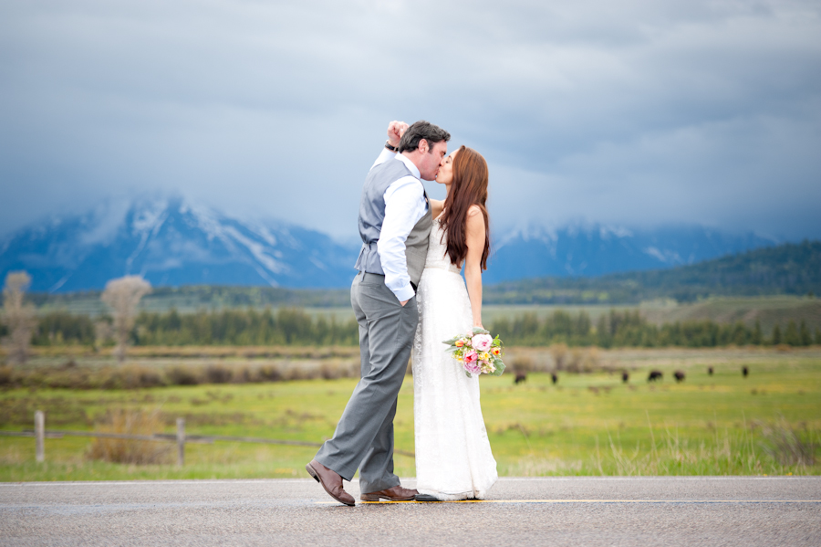 Look at the Bison! Oh yeah, and the beautiful bride and groom! ;)