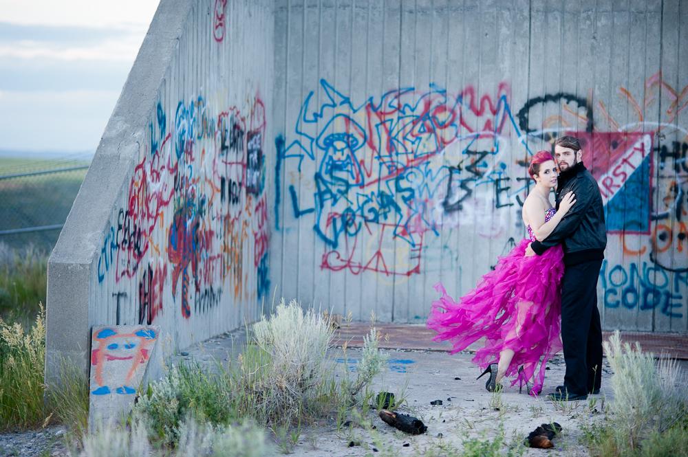 Graffiti pink wedding dress photo rock n roll bride