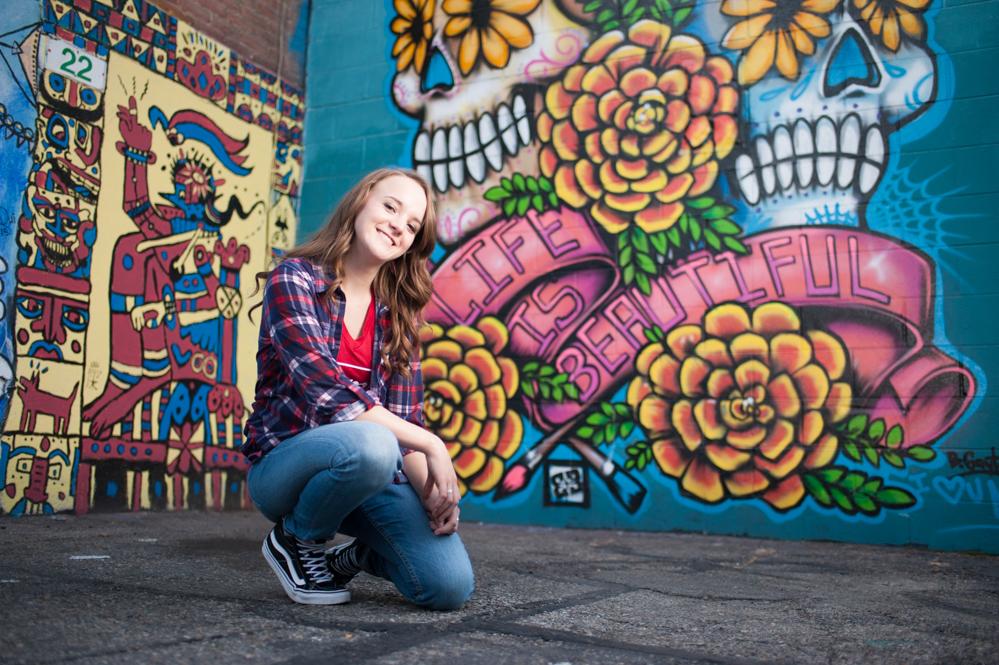 life is beautiful graffiti senior portrait