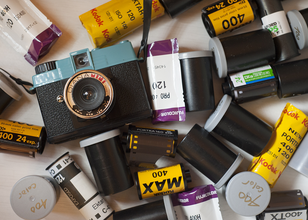 rolls of photographic film