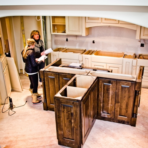 Redesigned kitchen and large interior in greater Denver metro area under construction