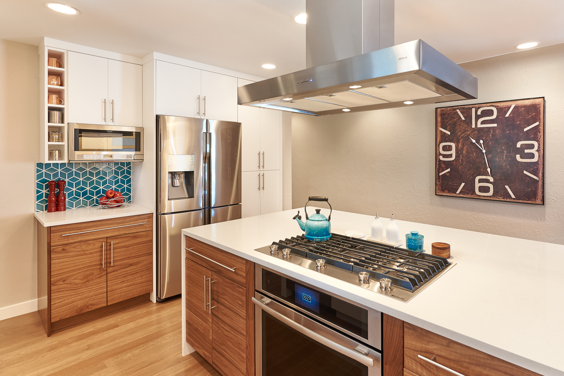 Kitchen entertaining design open shelves and stove oven stainless appliances