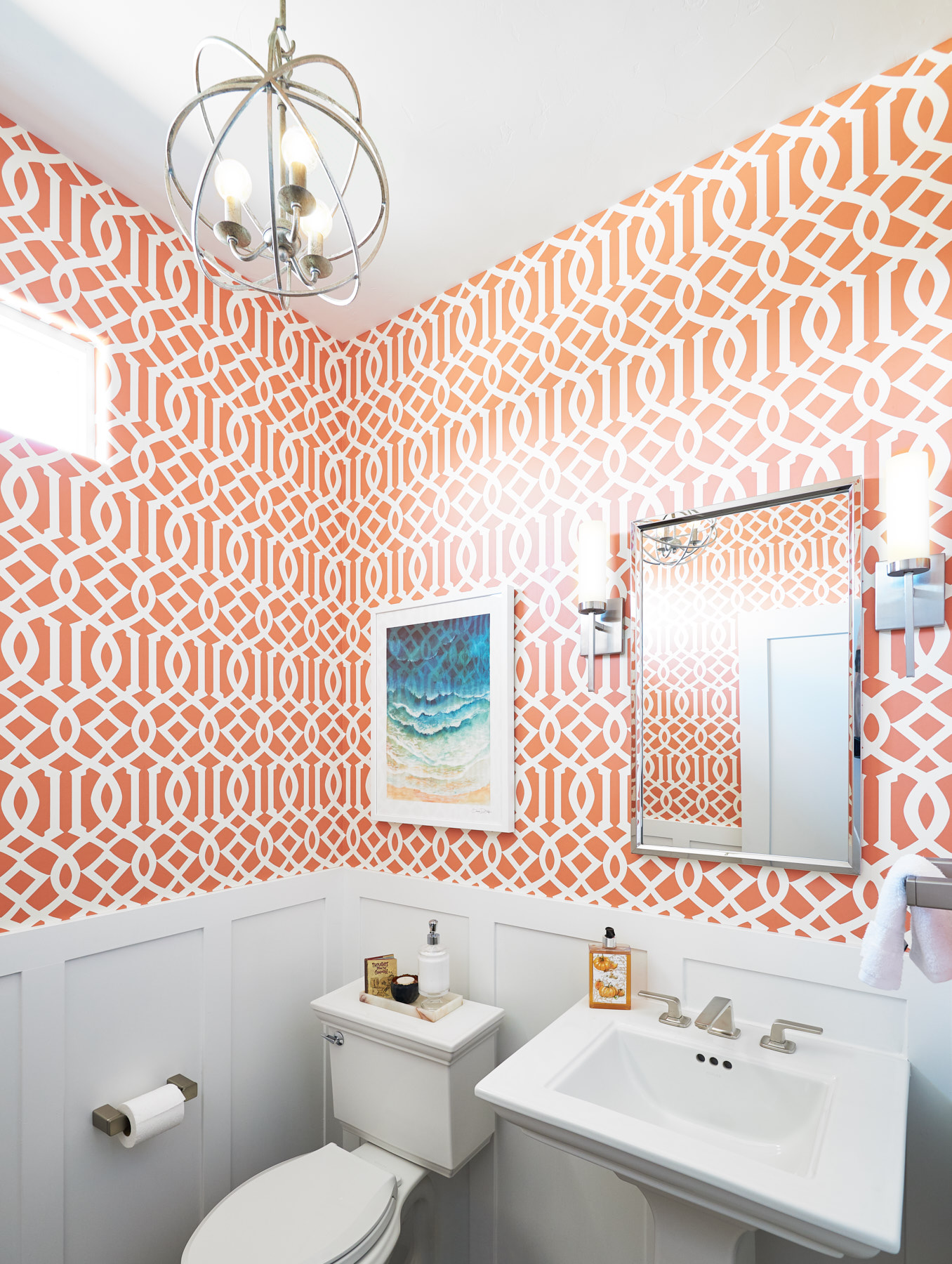 Perfect amount of color orange in interior powder bath 328 Design Group Littleton, CO