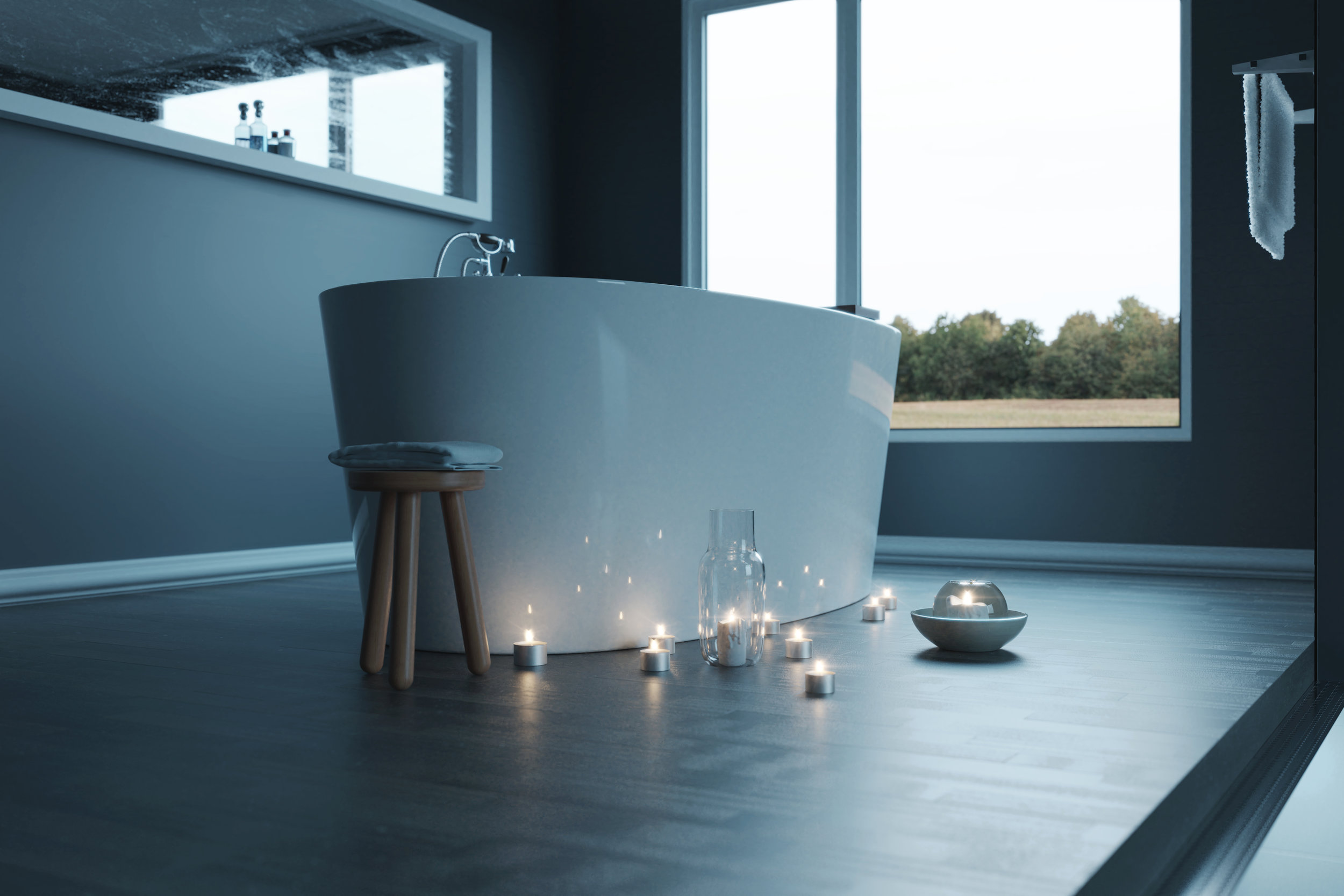 free standing sanctuary tub for interior design with a view and candles